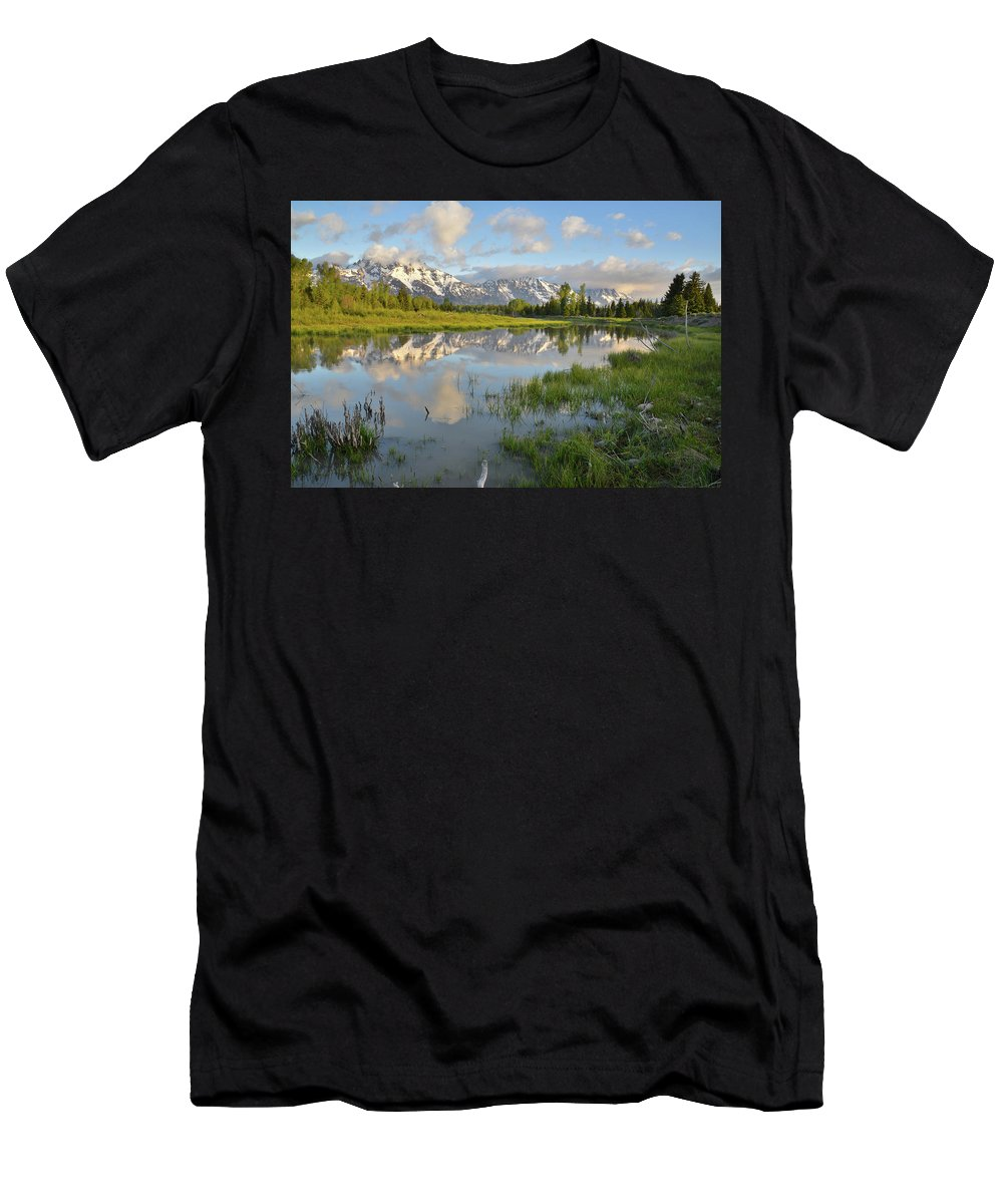Grand Teton National Park Men's T-Shirt (Athletic Fit) featuring the photograph Reflection In Snake River At Grand Teton by Ray Mathis