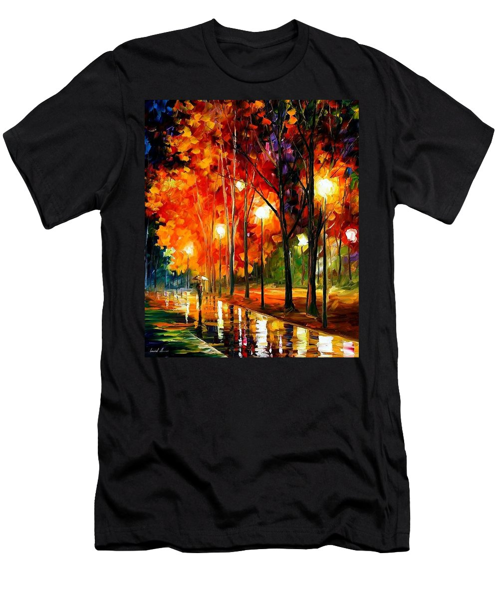 Landscape Men's T-Shirt (Athletic Fit) featuring the painting Reflection Of The Night by Leonid Afremov
