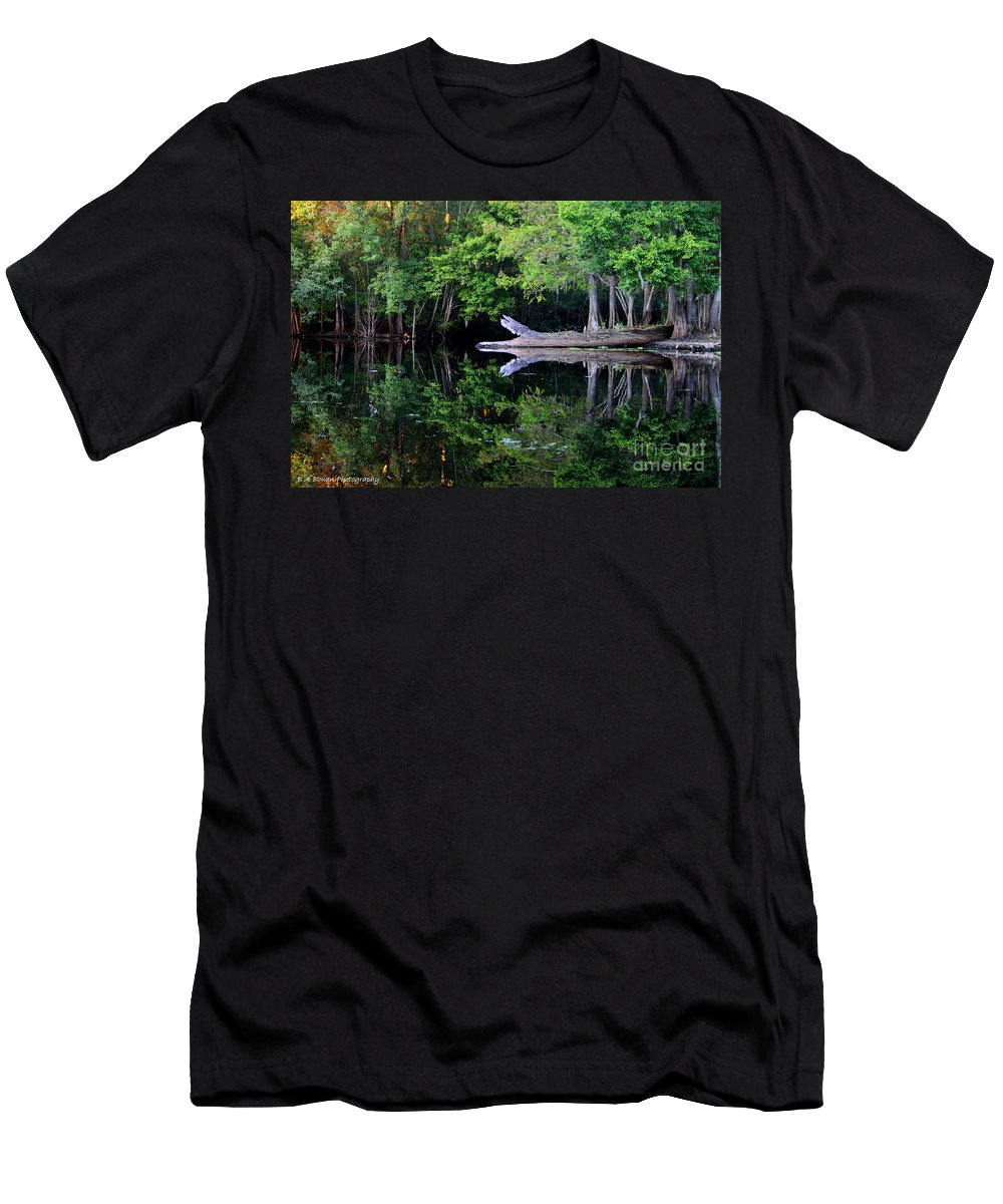 Reflection Men's T-Shirt (Athletic Fit) featuring the photograph Reflection Off The Withlacoochee River by Barbara Bowen
