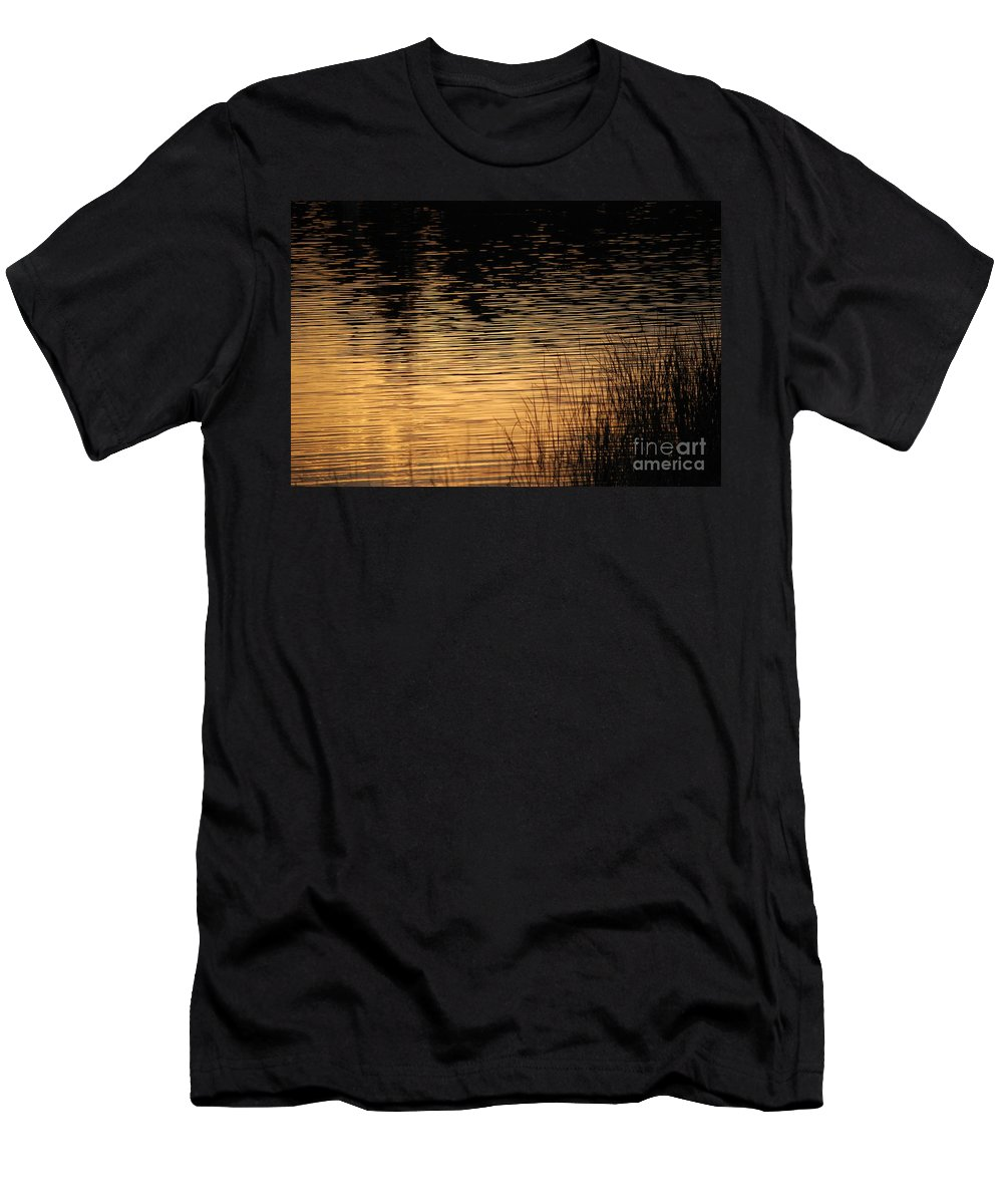 Digital Photo Men's T-Shirt (Athletic Fit) featuring the photograph Reflection On A Sunset by David Lane