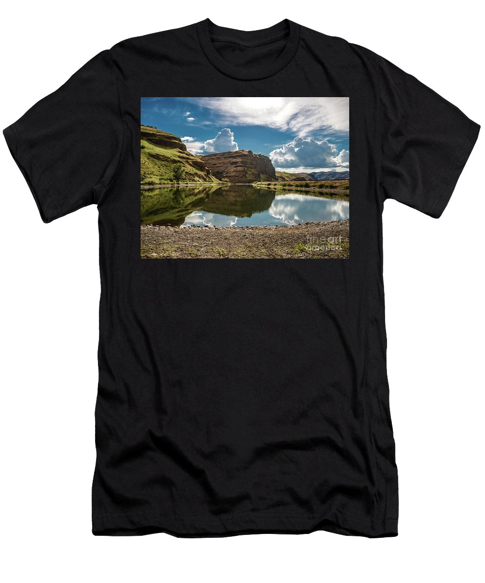Men's T-Shirt (Athletic Fit) featuring the photograph Reflections At The Pond by Marcia Darby