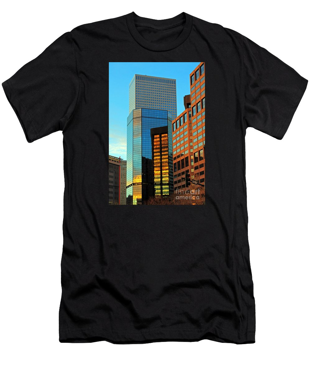 Cities Men's T-Shirt (Athletic Fit) featuring the photograph Reflections Of Denver by Jennifer Robin