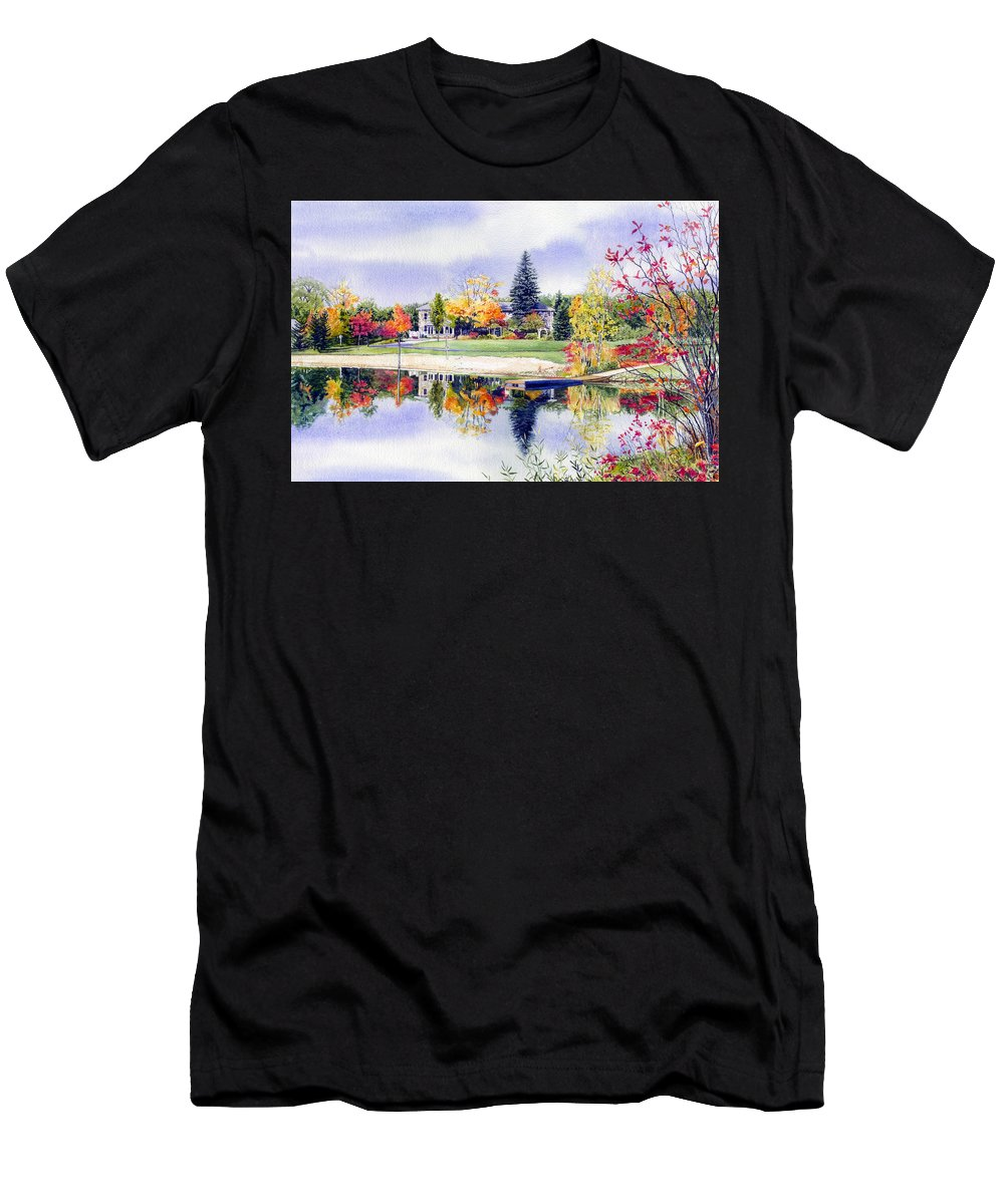 House Portrait Men's T-Shirt (Athletic Fit) featuring the painting Reflections Of Home by Hanne Lore Koehler