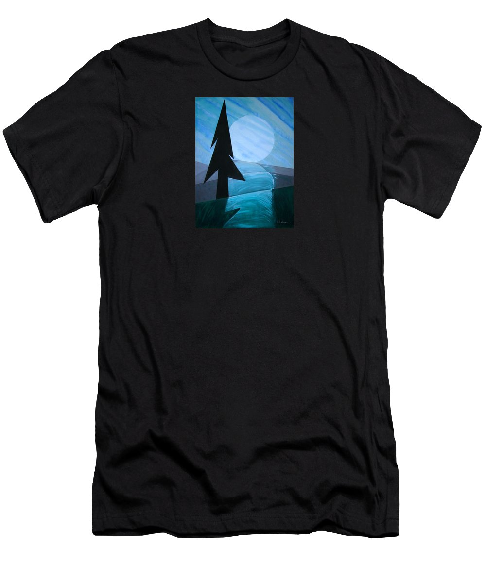 Phases Of The Moon Men's T-Shirt (Athletic Fit) featuring the painting Reflections On The Day by J R Seymour