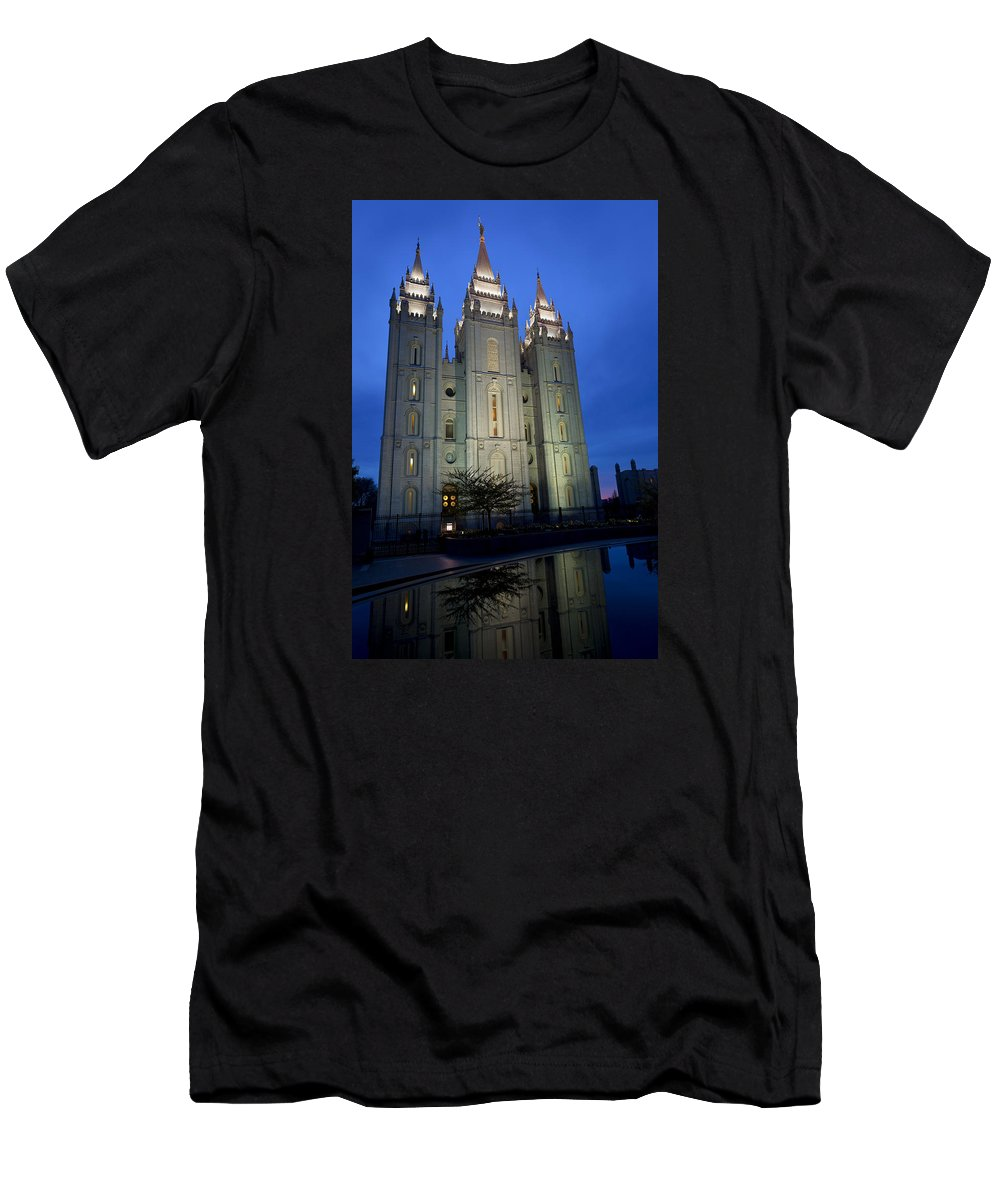 Reflective Temple Men's T-Shirt (Athletic Fit) featuring the photograph Reflective Temple by Chad Dutson