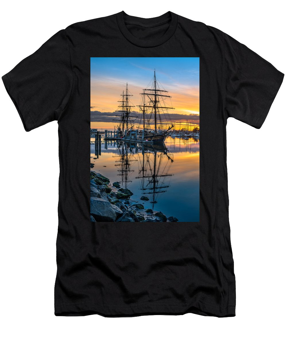Sailing Ships Men's T-Shirt (Athletic Fit) featuring the photograph Reflectons On Sailing Ships by Greg Nyquist