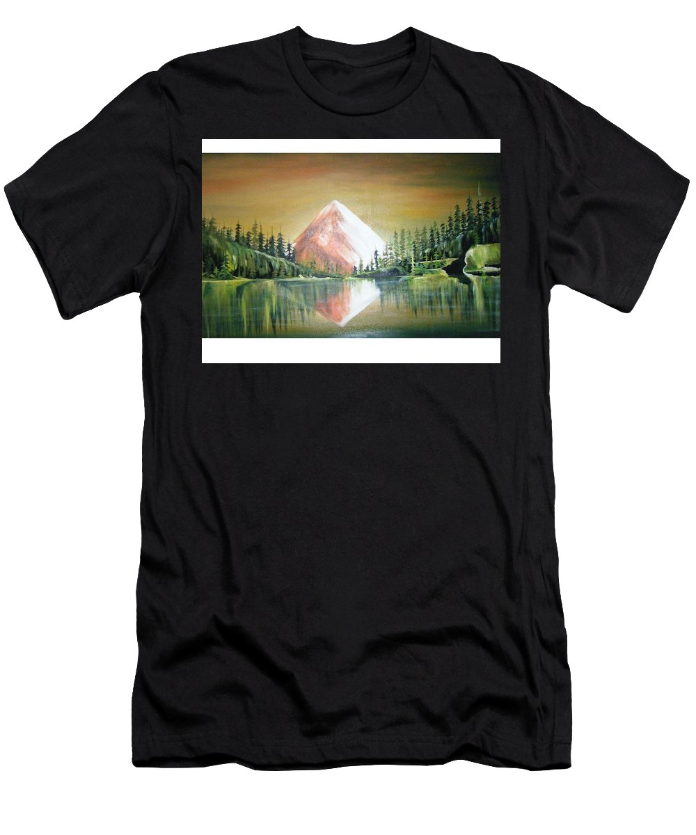 Oil Men's T-Shirt (Athletic Fit) featuring the painting Reflexion by Olaoluwa Smith
