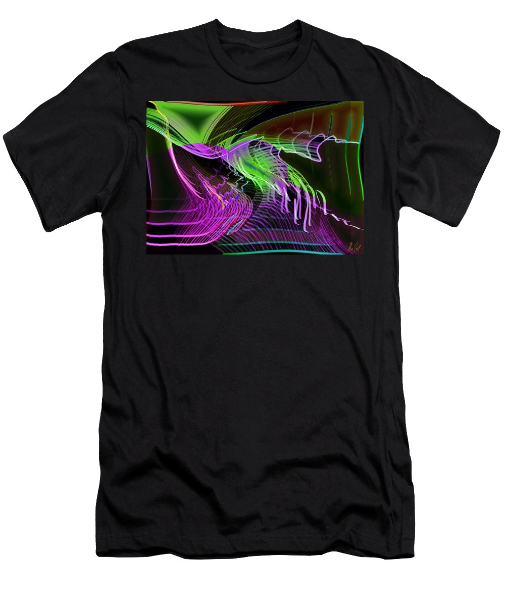 Drawing Men's T-Shirt (Athletic Fit) featuring the digital art Reflexions Green by Helmut Rottler