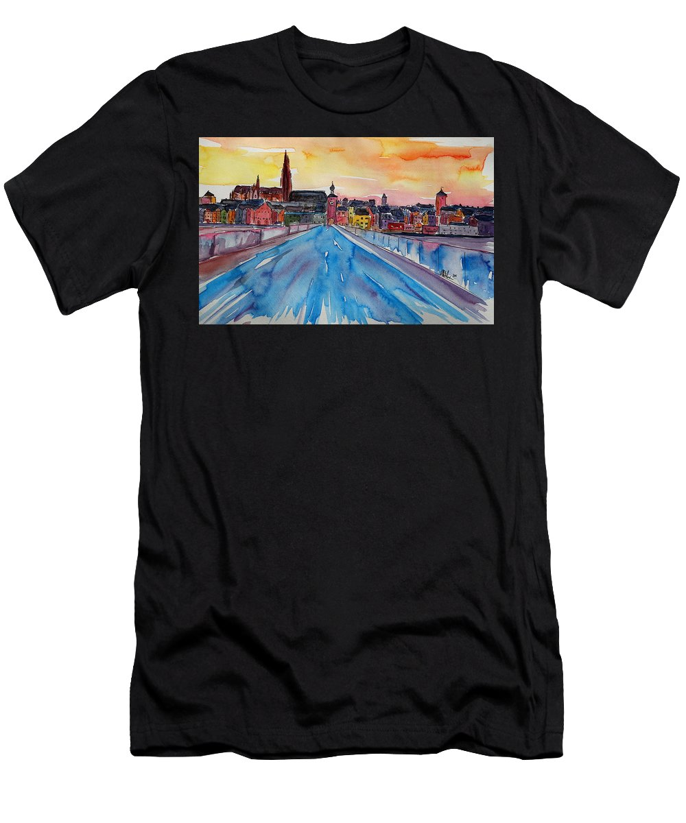 Acryl Men's T-Shirt (Athletic Fit) featuring the painting Regensburg Pearl On Danube Germany by M Bleichner
