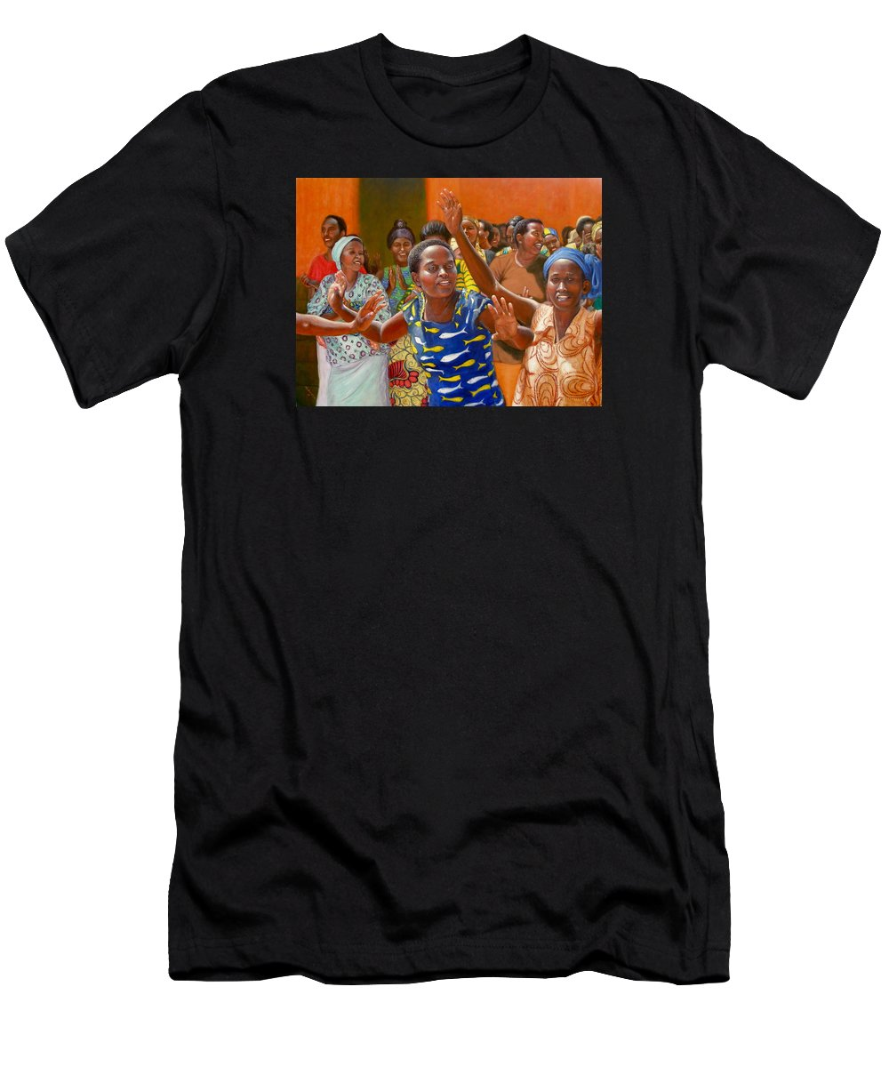 Realism T-Shirt featuring the painting Rejoice by Donelli DiMaria