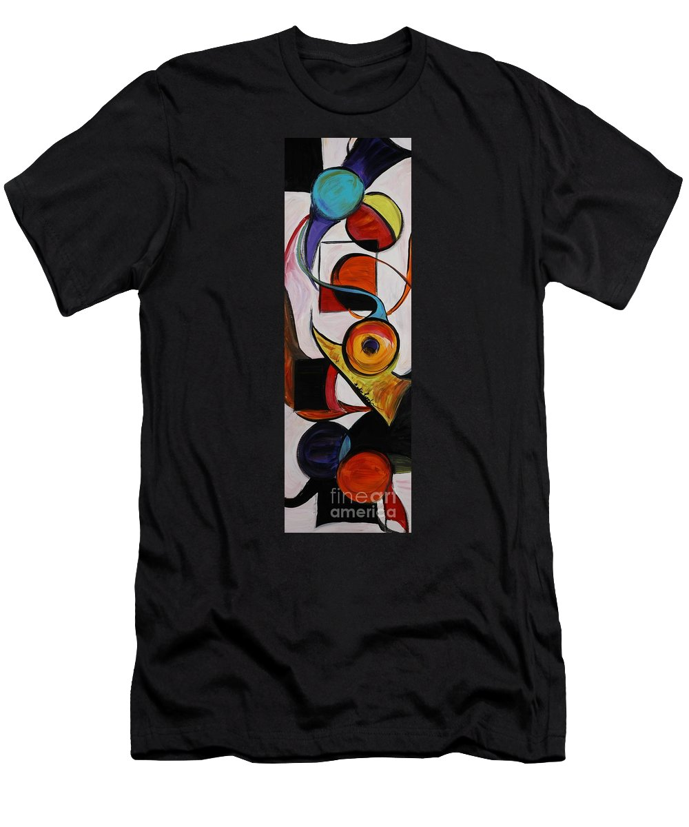Shapes Men's T-Shirt (Athletic Fit) featuring the painting Relationships by Nadine Rippelmeyer