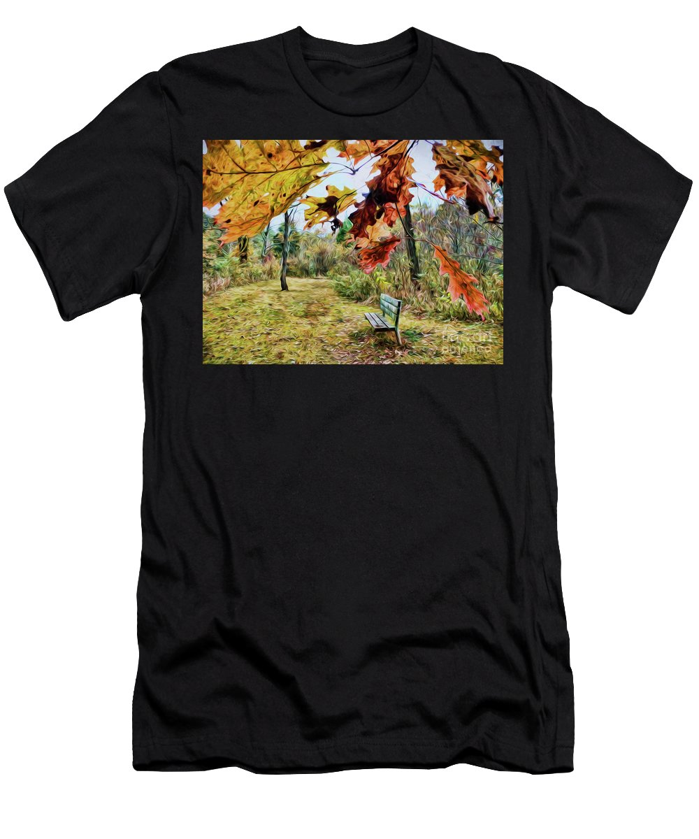 Autumn Men's T-Shirt (Athletic Fit) featuring the photograph Relax And Watch The Leaves Turn by Kerri Farley