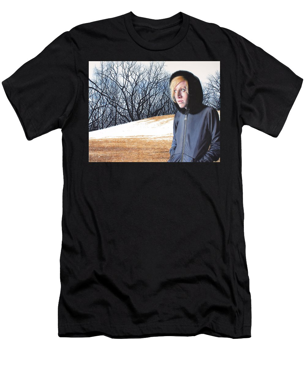 Female Men's T-Shirt (Athletic Fit) featuring the painting Remote by Denny Bond