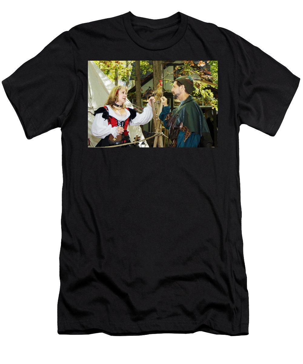 Actors Men's T-Shirt (Athletic Fit) featuring the photograph Renaissance Faire With Hen by Francesa Miller