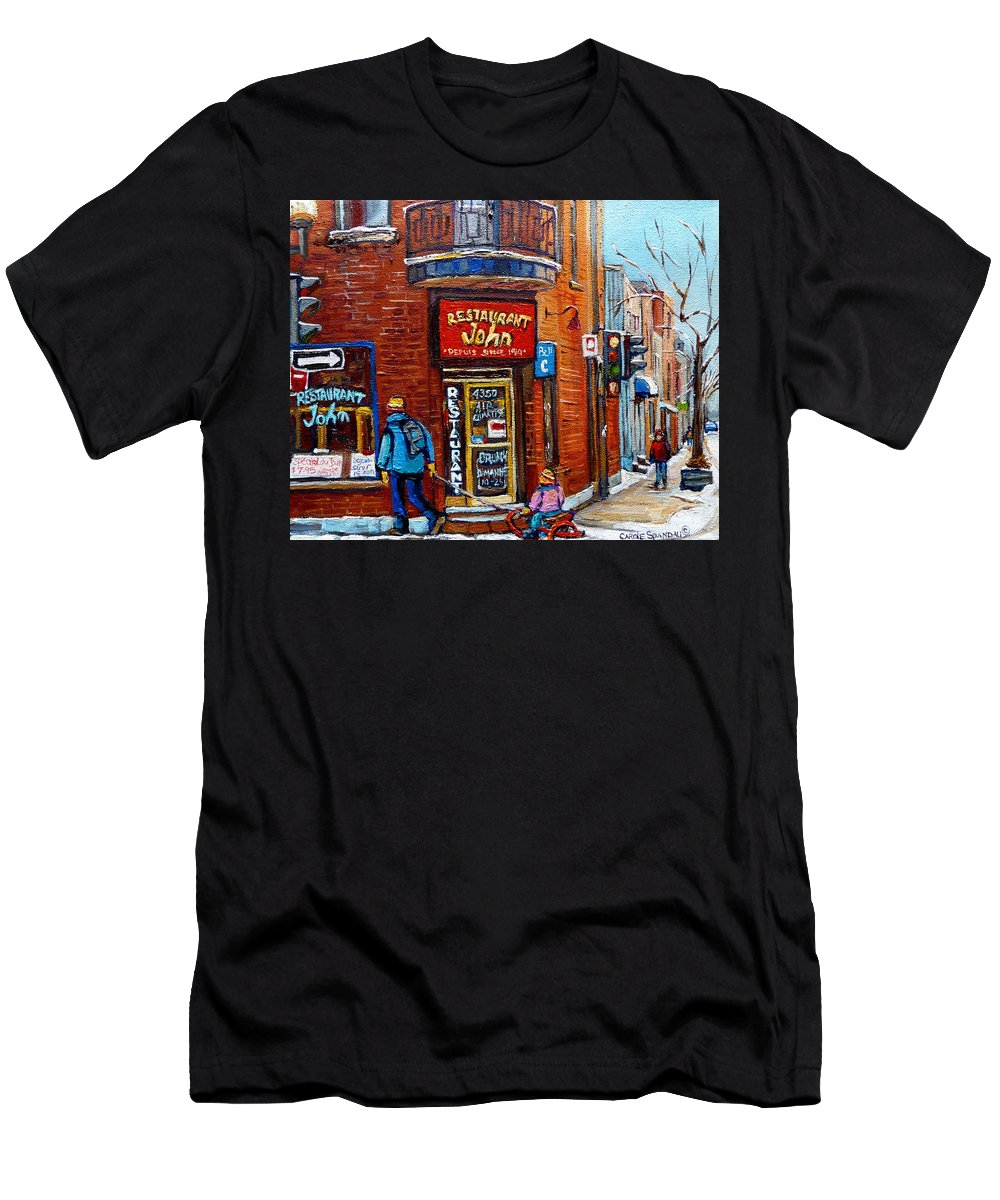 Restaurant John Montreal Men's T-Shirt (Athletic Fit) featuring the painting Restaurant John Montreal by Carole Spandau