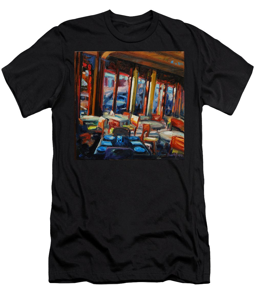 Cityscape Men's T-Shirt (Athletic Fit) featuring the painting Restaurant On Columbus by Rick Nederlof