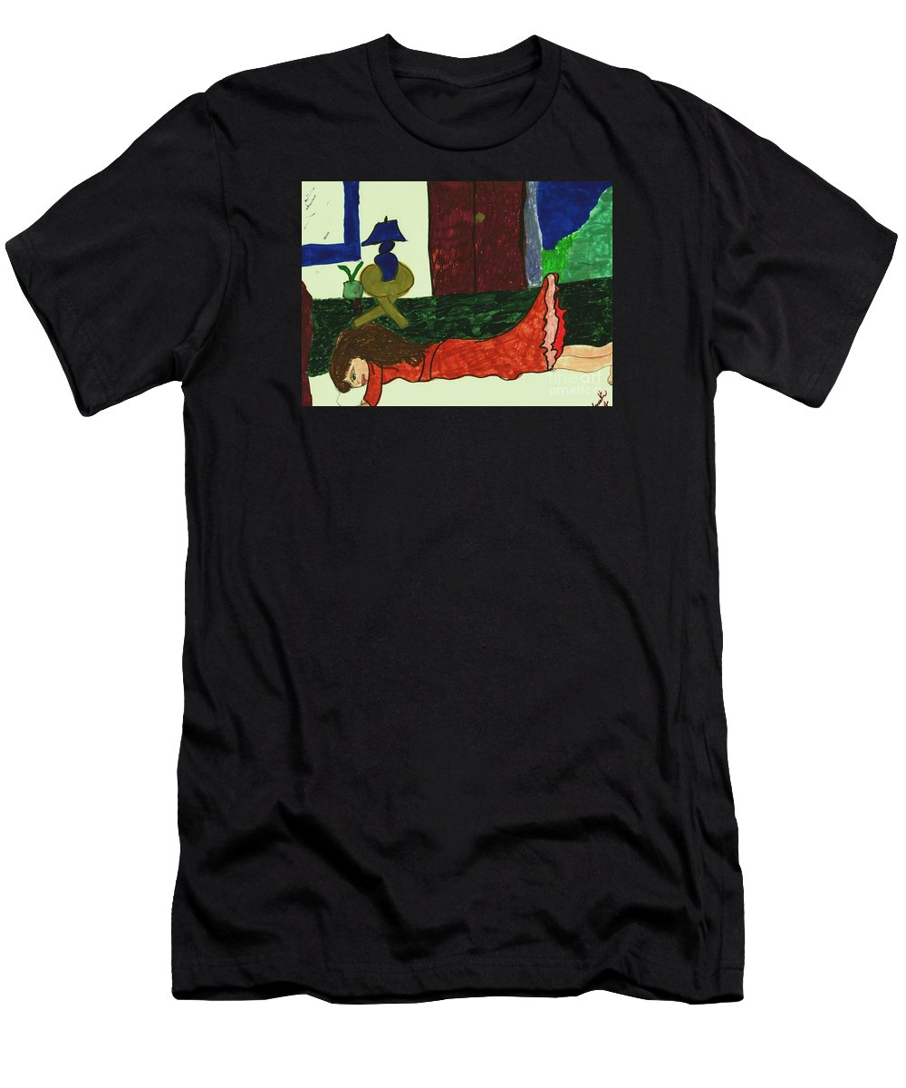 Girl Resting On A Bed Men's T-Shirt (Athletic Fit) featuring the mixed media Resting by Elinor Helen Rakowski