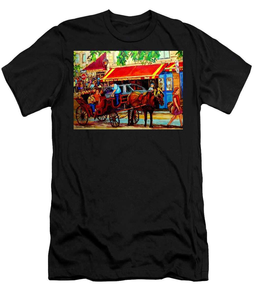 Resto La Grande Terrasse Men's T-Shirt (Athletic Fit) featuring the painting Resto La Grande Terrasse by Carole Spandau