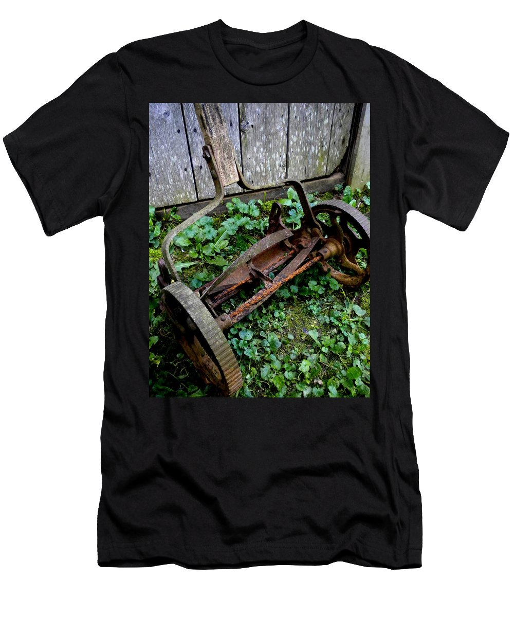 Lawnmower Men's T-Shirt (Athletic Fit) featuring the photograph Retired by Renate Nadi Wesley