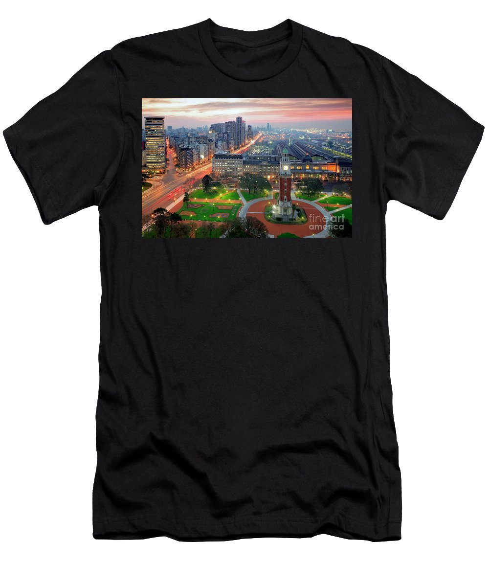 Buenos Aires Men's T-Shirt (Athletic Fit) featuring the photograph Retiro Buenos Aires by Bernardo Galmarini