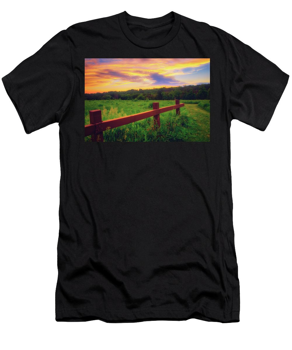 Wisconsin Landscape Men's T-Shirt (Athletic Fit) featuring the photograph Retzer Nature Center - Sunset Over Field by Jennifer Rondinelli Reilly - Fine Art Photography