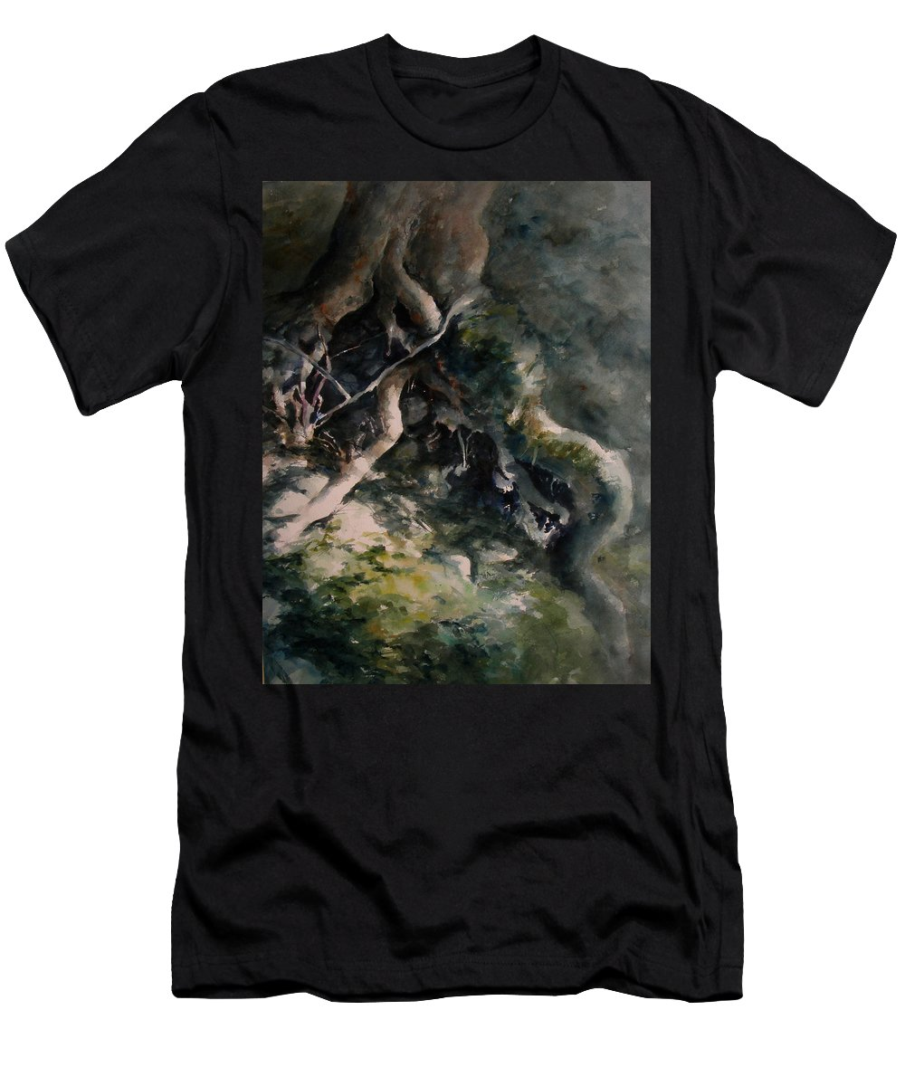 Nature Men's T-Shirt (Athletic Fit) featuring the painting Revealed by Rachel Christine Nowicki
