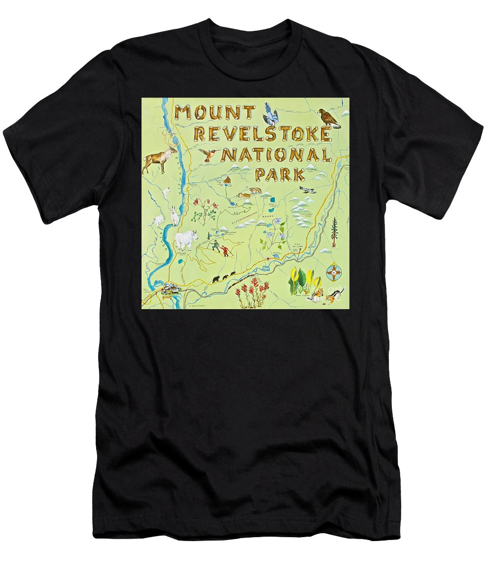Revelstoke Men's T-Shirt (Athletic Fit) featuring the painting Revelstoke National Park by Virginia Ann Hemingson