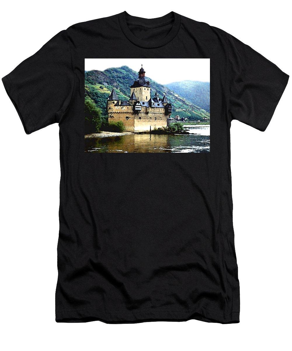 Castle Men's T-Shirt (Athletic Fit) featuring the painting Rhine River Castle by Paul Sachtleben