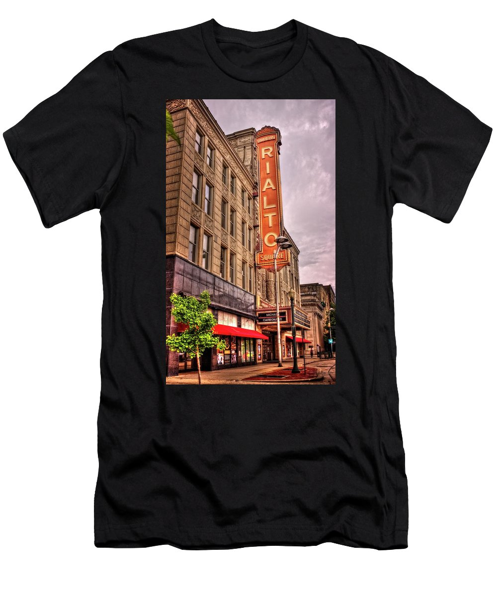 Joliet Men's T-Shirt (Athletic Fit) featuring the photograph Rialto Square Theatre by Fred Hahn