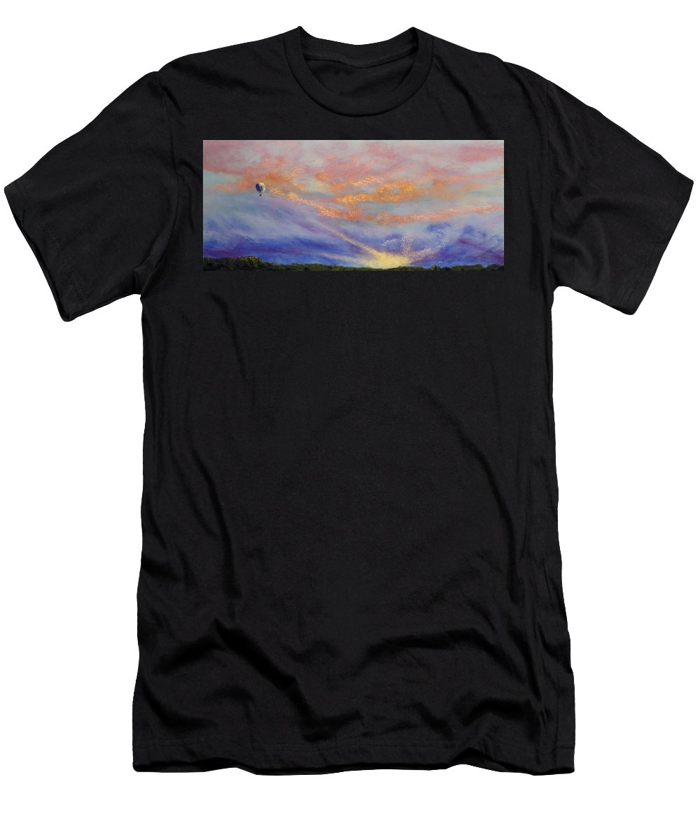 Nature Scape Men's T-Shirt (Athletic Fit) featuring the painting Ribbon Jumping by Kevin Moffatt