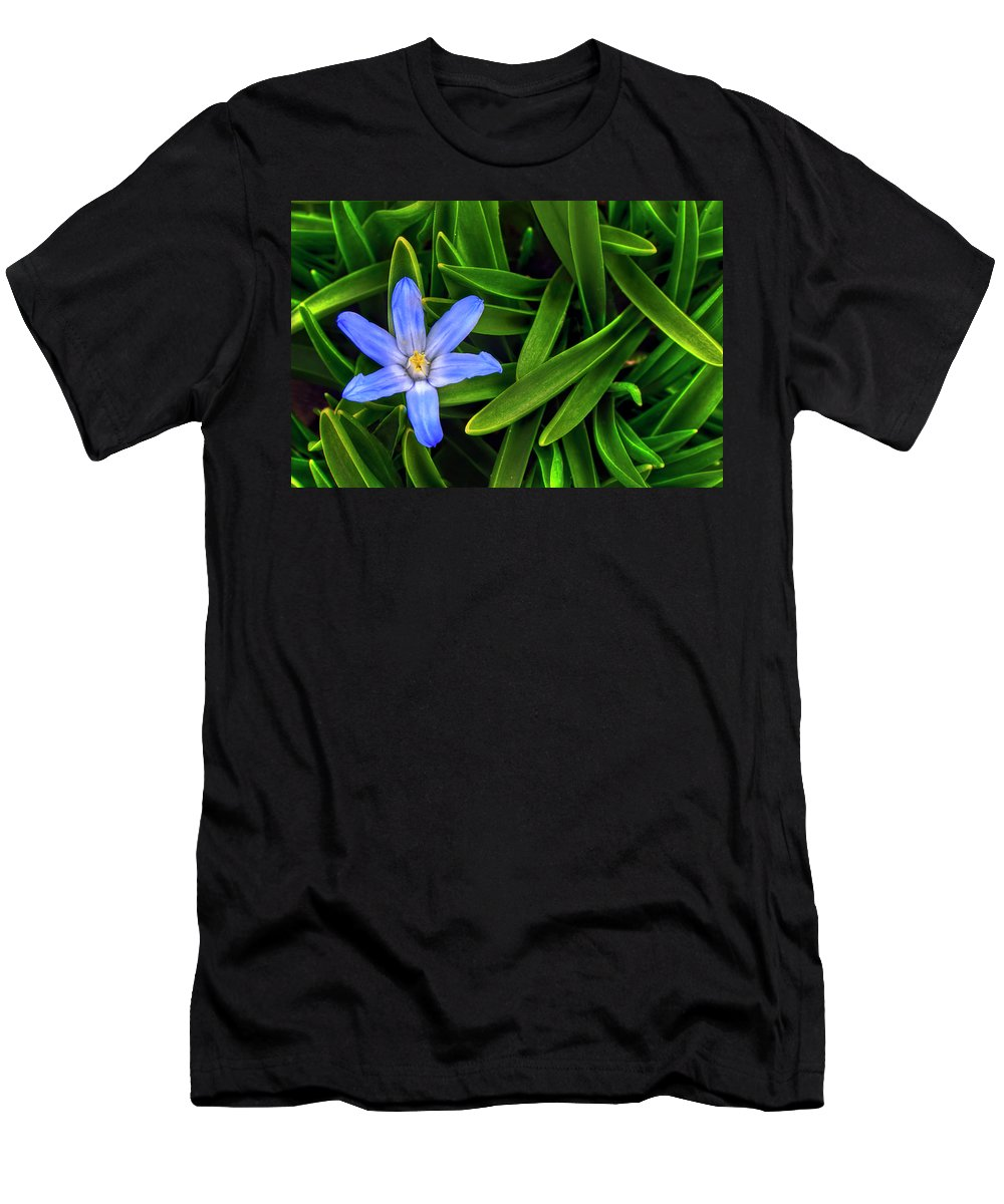 Backyard Men's T-Shirt (Athletic Fit) featuring the photograph Ribbons Of Spring by Evelina Kremsdorf