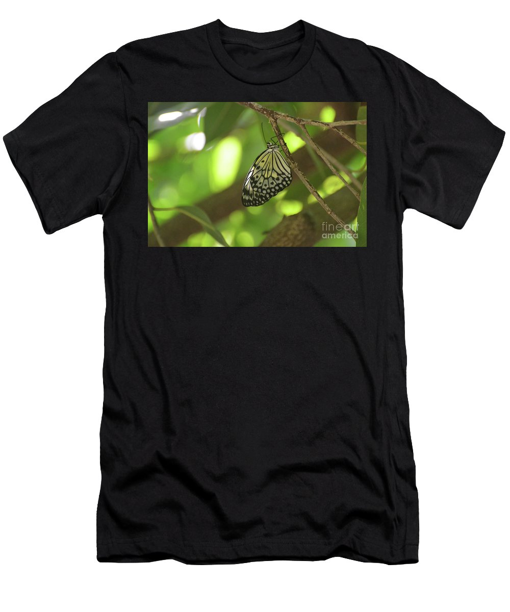 Tree-nymph Men's T-Shirt (Athletic Fit) featuring the photograph Rice Paper Butterfly Clinging To A Tree Branch by DejaVu Designs