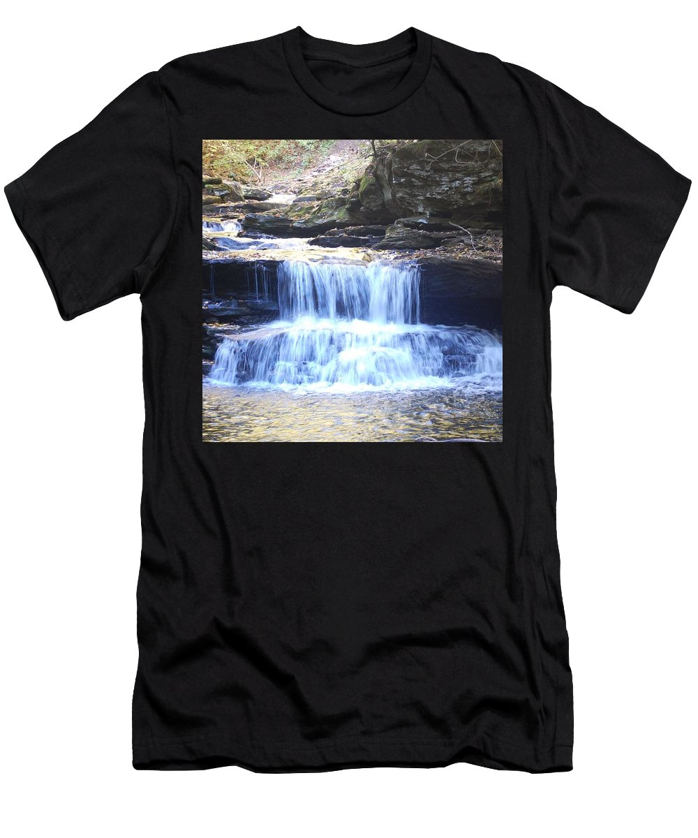 Water Men's T-Shirt (Athletic Fit) featuring the photograph Ricketts Glen 5.ft Falls by Michael Senn