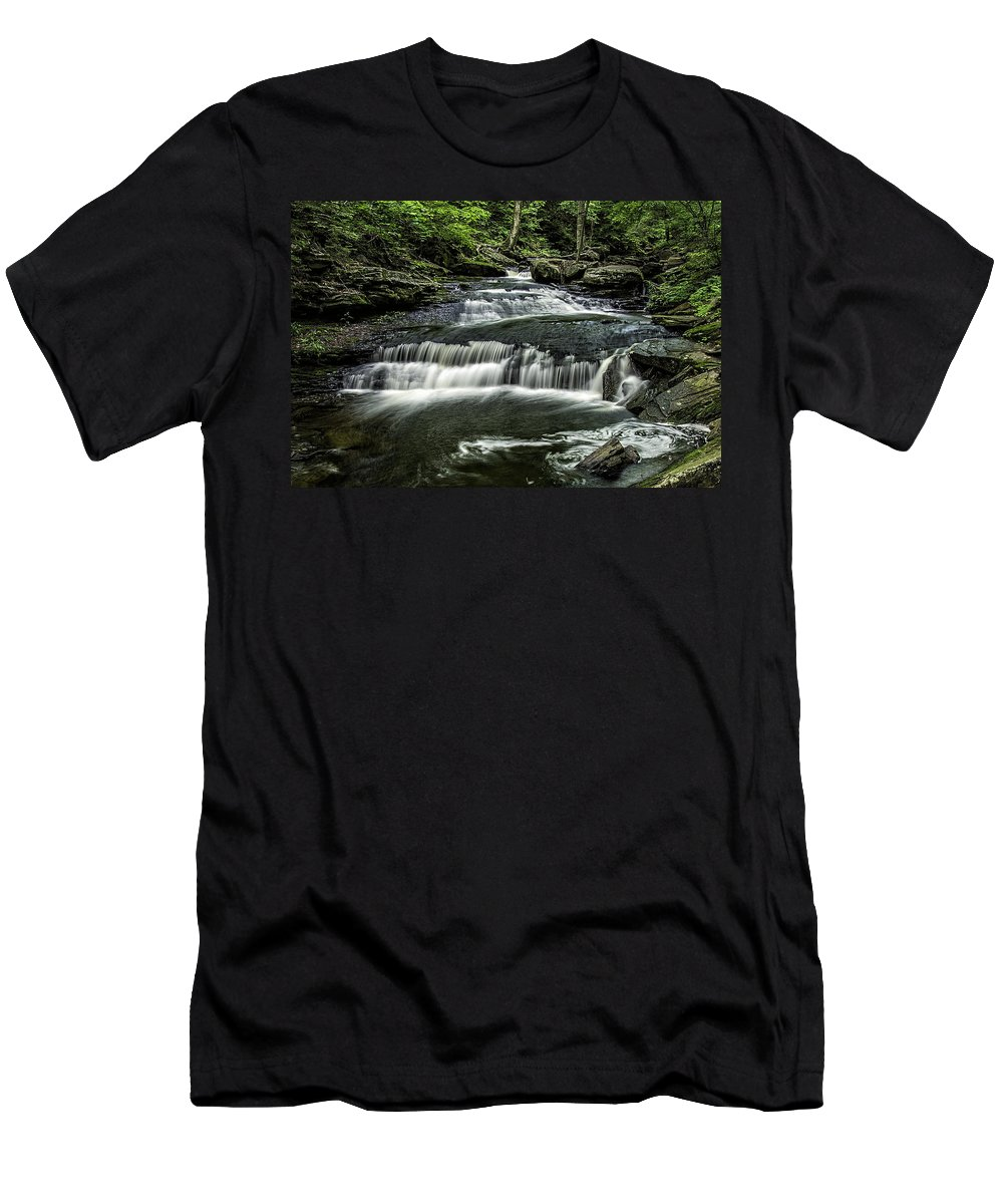 Brian Snyder Photography Men's T-Shirt (Athletic Fit) featuring the photograph Ricketts Glen_061414_0097 by Brian Snyder