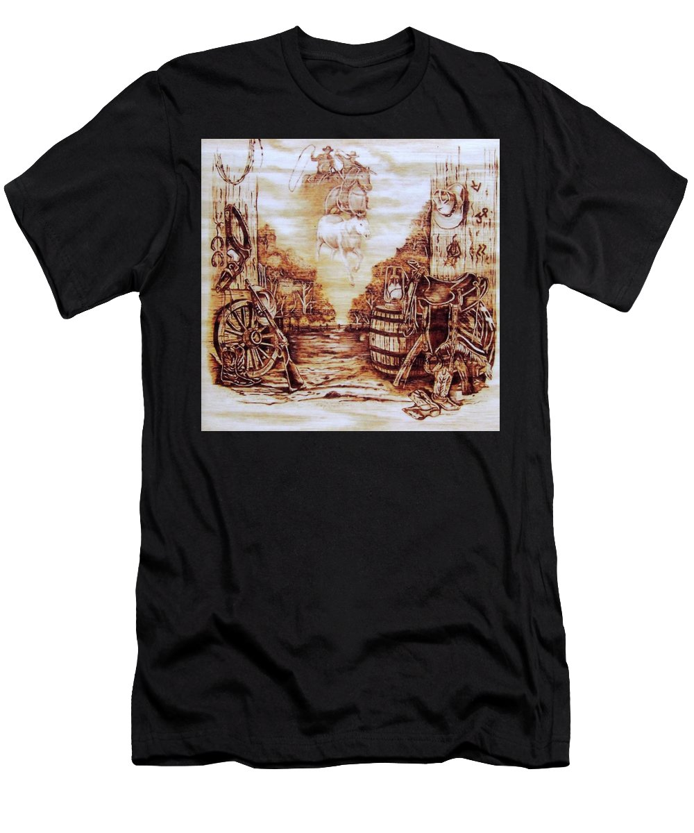 Western Men's T-Shirt (Athletic Fit) featuring the pyrography Riders In The Sky by Danette Smith