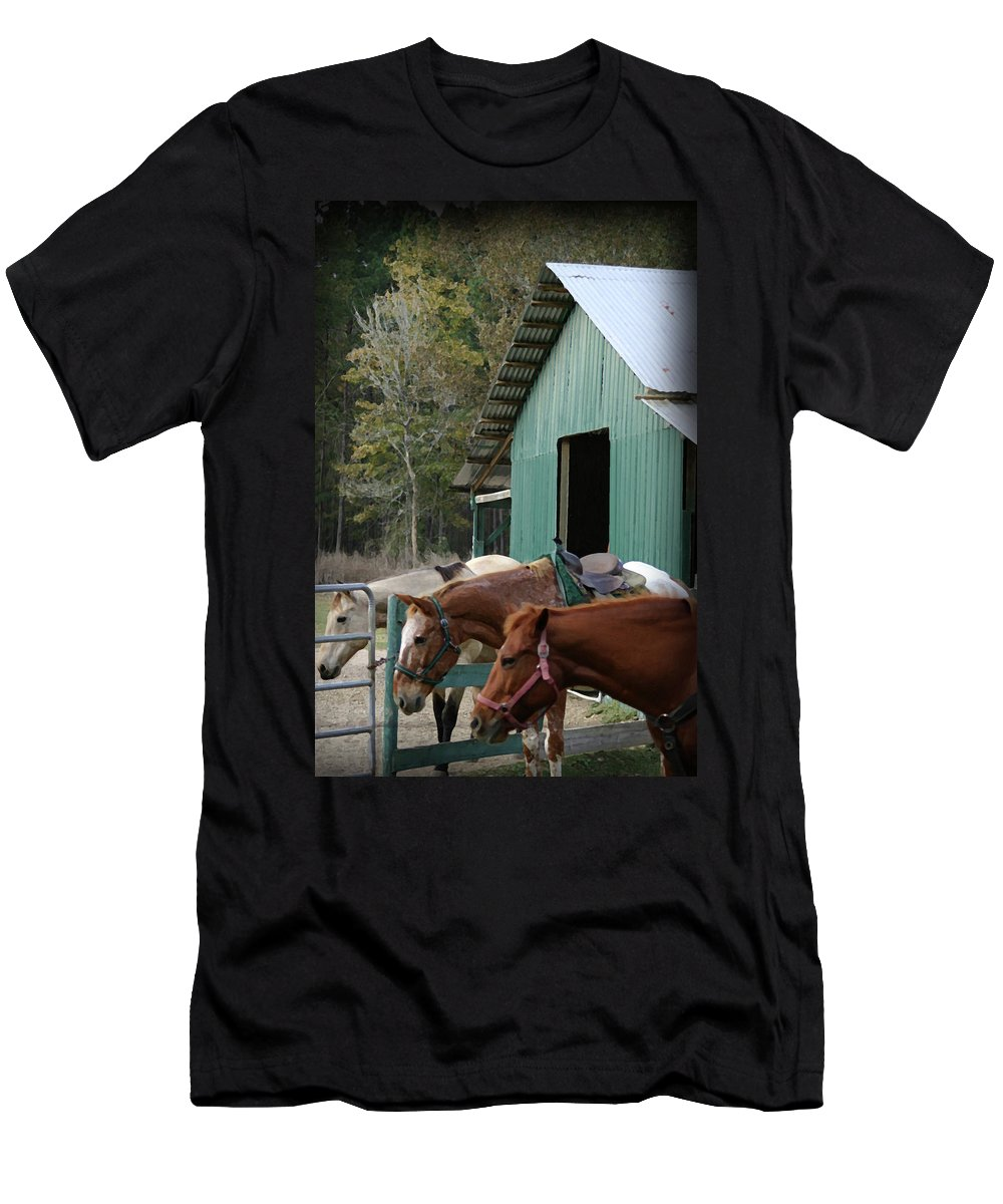 Horse Men's T-Shirt (Athletic Fit) featuring the digital art Riding Horses by Kim Henderson