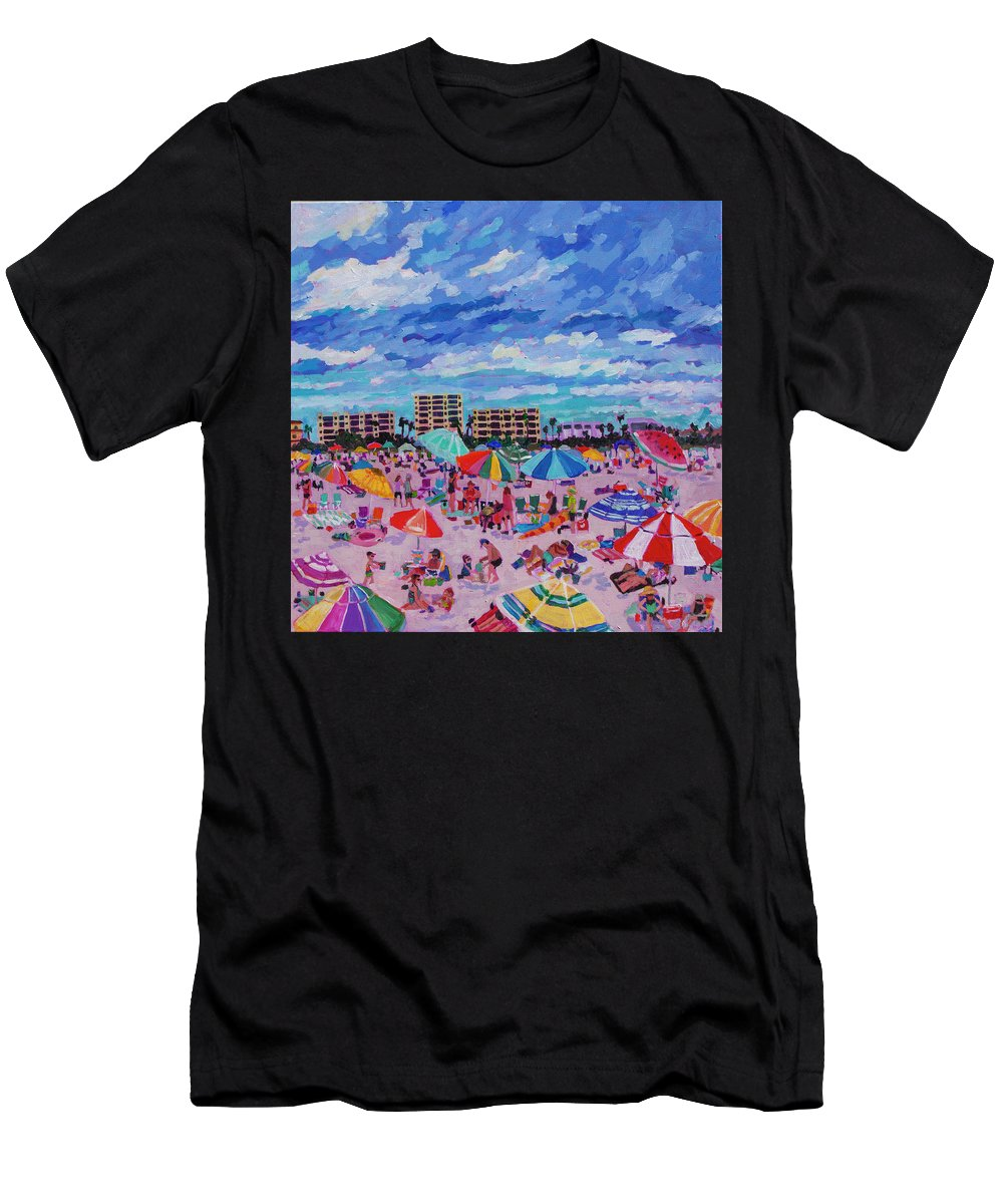 Triptych Men's T-Shirt (Athletic Fit) featuring the painting Right Panel Of Triptych Busy Relaxing by Heather Nagy