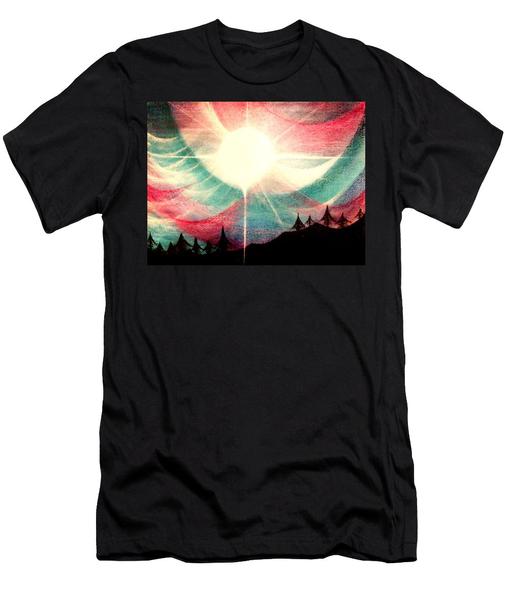 Sunrise.landscape Men's T-Shirt (Athletic Fit) featuring the painting Rising Sun by Kumiko Mayer