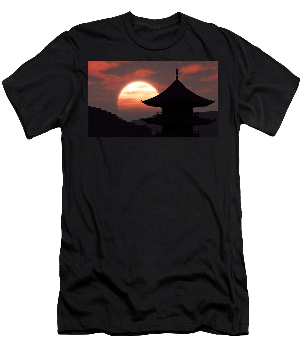 Oriental Men's T-Shirt (Athletic Fit) featuring the digital art Rising Sun by Richard Rizzo