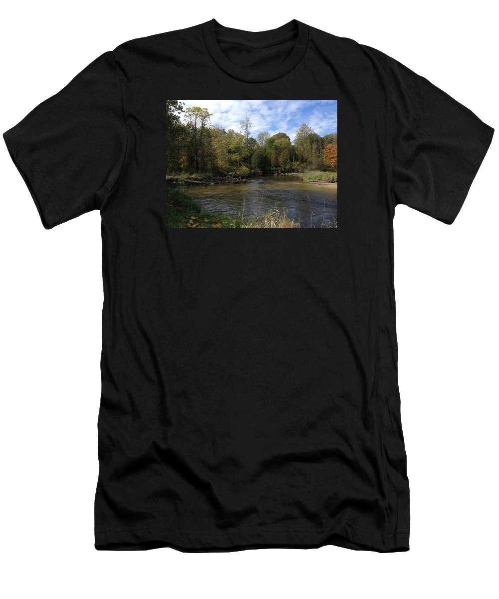 Pure Michigan Men's T-Shirt (Athletic Fit) featuring the digital art River Bends by Jim Richardson