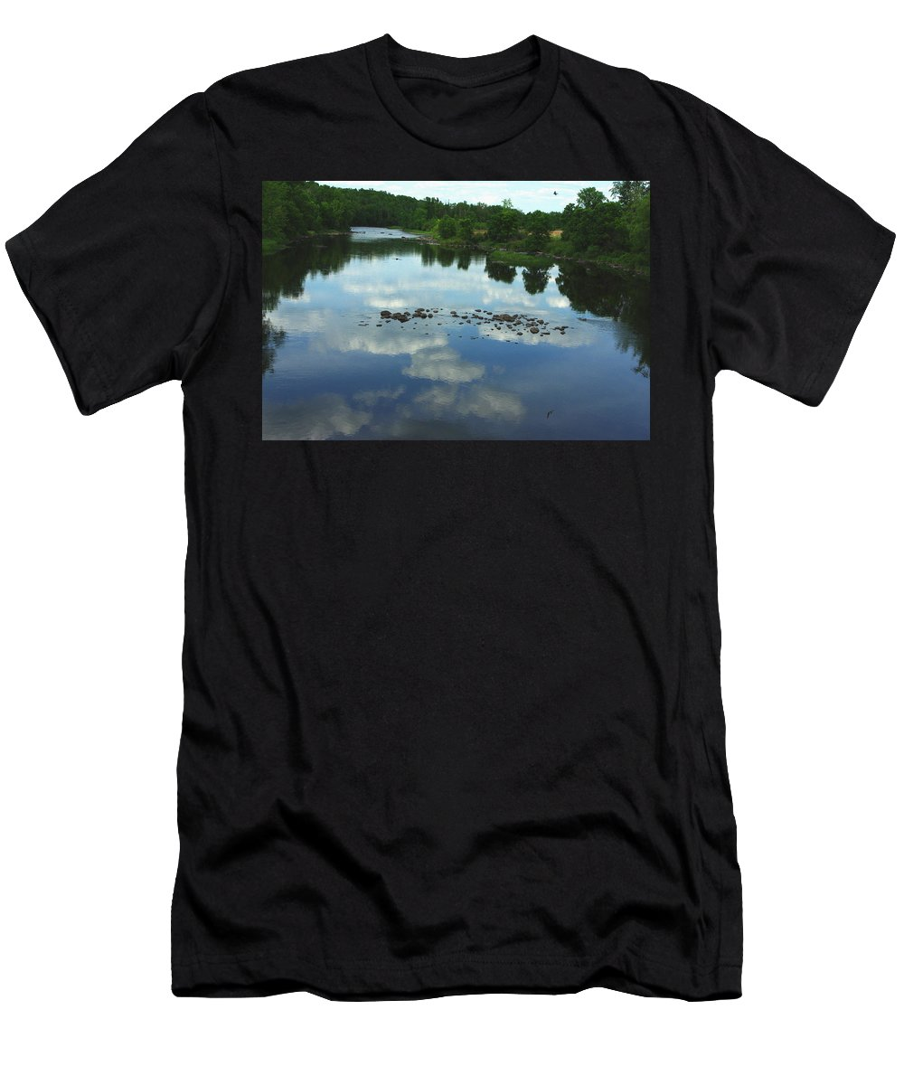Reflection Of Clouds Men's T-Shirt (Athletic Fit) featuring the photograph River Cloud Reflection by Alice Markham