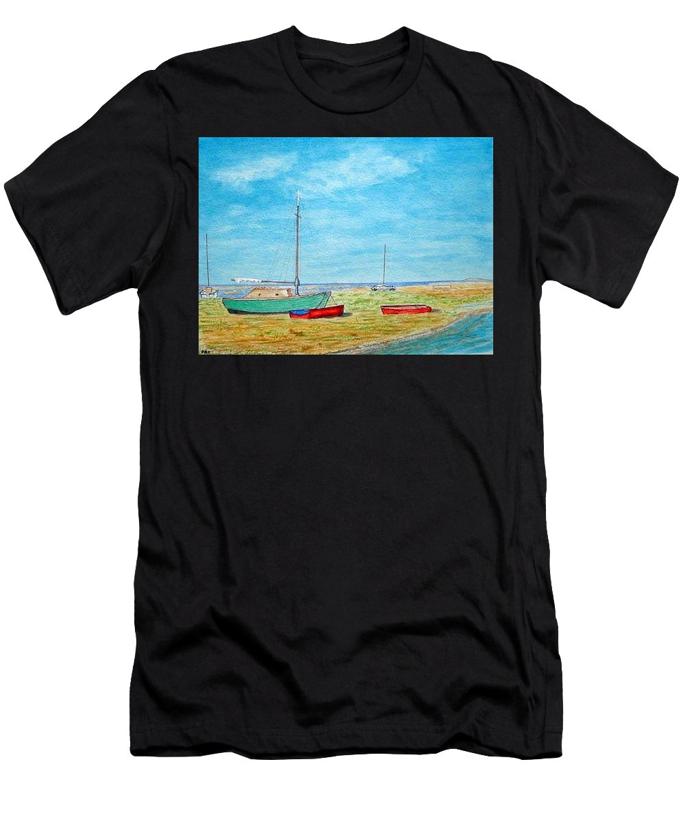 Beach Landscape Pens Watercolour Men's T-Shirt (Athletic Fit) featuring the painting River Dee - Heswall Shore by Peter Farrow