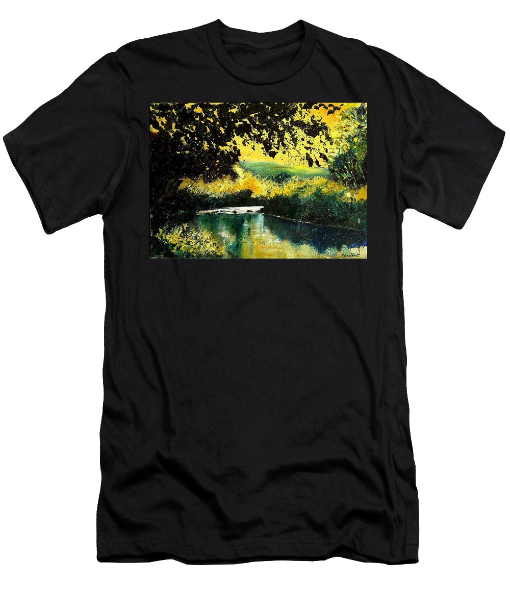 River Men's T-Shirt (Athletic Fit) featuring the painting River Houille by Pol Ledent