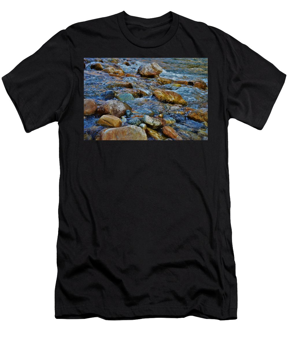 Men's T-Shirt (Athletic Fit) featuring the photograph River Rocks by Cassie Meingasner