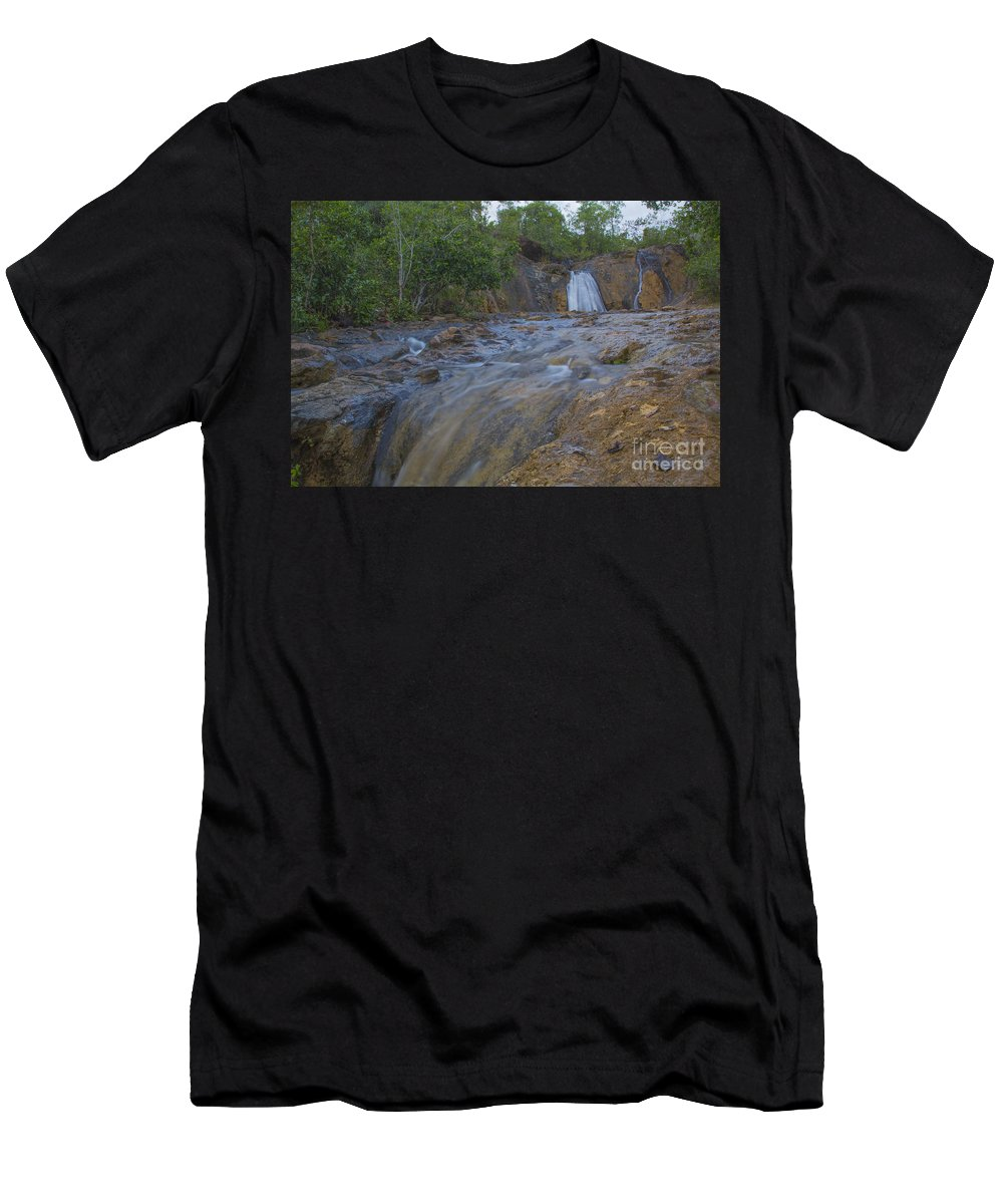 Landscape Men's T-Shirt (Athletic Fit) featuring the photograph River Rushing Through by Alfred De Peralta