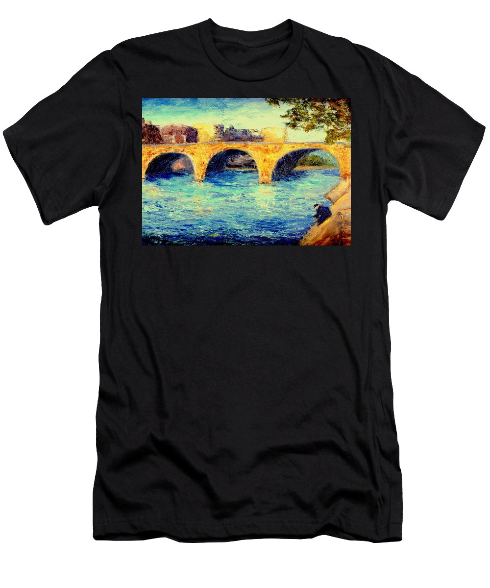 Impressionism Men's T-Shirt (Athletic Fit) featuring the painting River Seine Bridge by Gail Kirtz