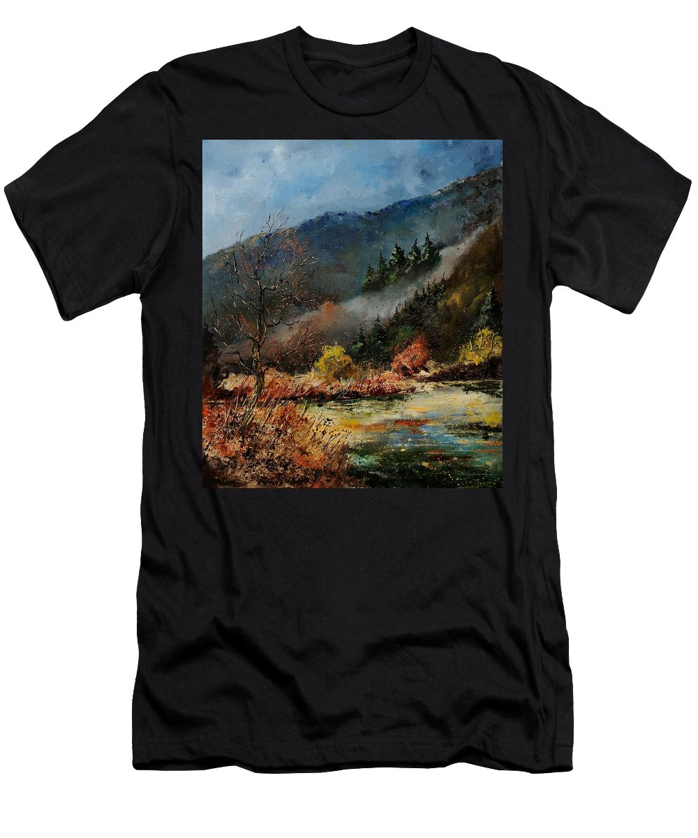 River Men's T-Shirt (Athletic Fit) featuring the painting River Semois by Pol Ledent