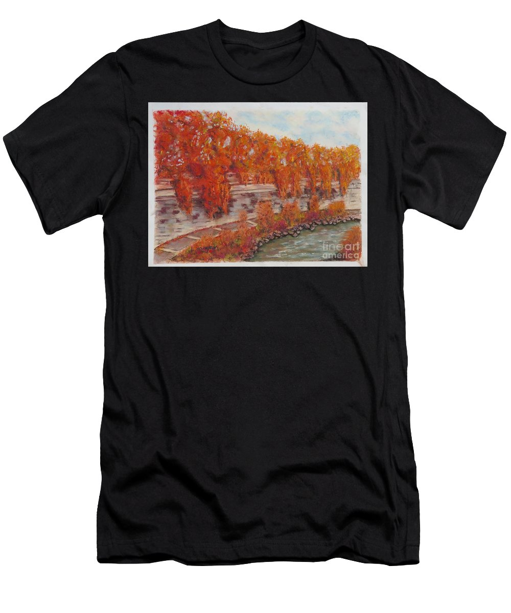 River T-Shirt featuring the pastel River Tiber In Fall by Laurie Morgan