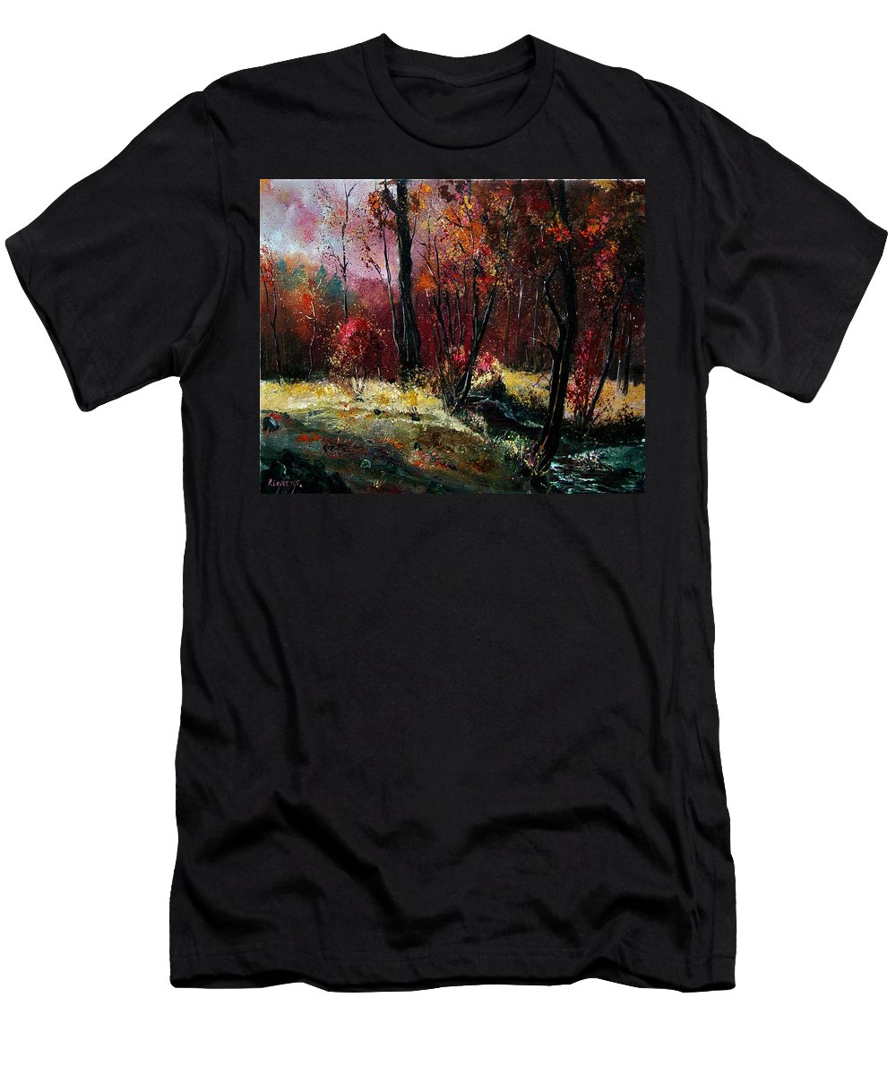 River Men's T-Shirt (Athletic Fit) featuring the painting River Ywoigne by Pol Ledent