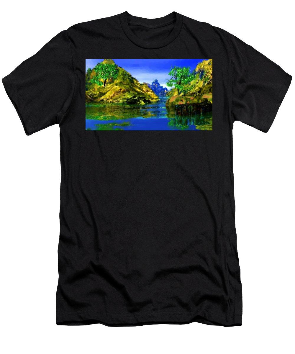 Landscape Men's T-Shirt (Athletic Fit) featuring the digital art Riverside by David Lane
